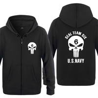 Seal Team Six US NAVY Novelty Sweatshirts Men 2018 Mens Zipper Hooded Fleece Hoodies Cardigans