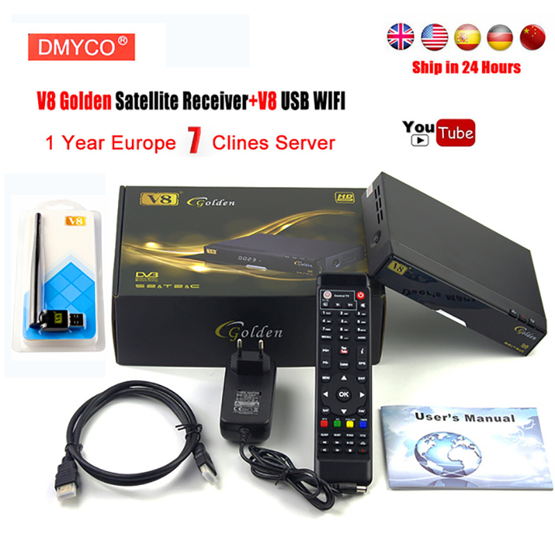 цена на 1 Year Europe 7 clines Server DVB-T2/DVB-S2&C Receptor DMYCO V8 Golden Satellite receiver Support PowerVu Newcam IPTV+Usb wifi