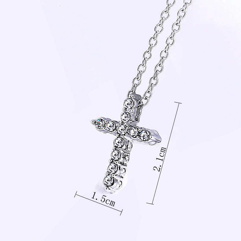 販売ストラップオスバックルドロップ出荷ホップ合金クロスペンダントネックレスアイスアウトラインストーン十字架チャームネックレスジュエリー
