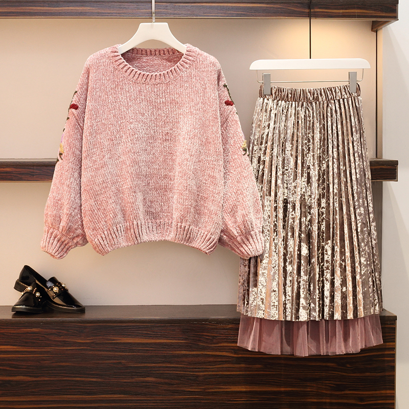 2019 New Women 2 Pieces Skirts Suits Knitted Flower Embroidery Sweaters And Pleated Skirts Lady Pink Elegant Skirt Suits