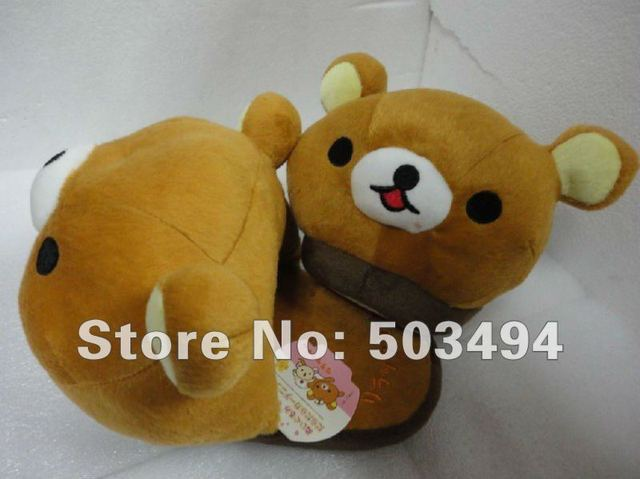Free Shipping EMS Rilakkuma Bear Pineapple Bread Plush Home Slipper Shoes Rilakkuma Bear Slipper San-X bear slippers
