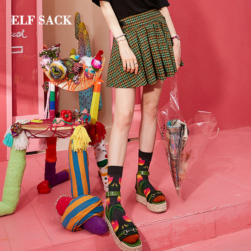 ELF SACK 2019 New Vintage Summer Woman Skirts Casual Green Plaid Mid Waist A Line Mini Skirt Femme Streetwear Women Bottom in Skirts from Women 39 s Clothing