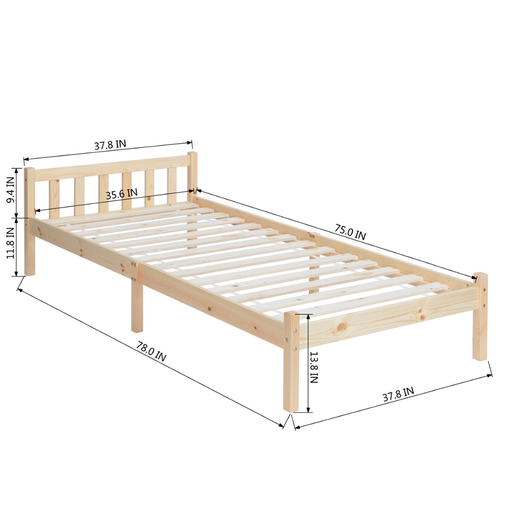 Aingoo 3ft Single Wood Bed Frame Base for Kids Adults Wooden ...
