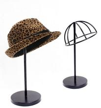 Free shipping Hat storage rack metal peak cap display stand bucket hat straw sunhat shelf holder wig hairpiece