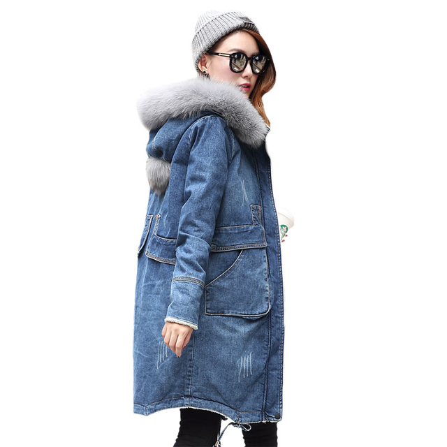 99b3e9f8d7646 Winter Coat Women 2018 Thick Cotton Solid Long Denim Jacket Casual Hood Cashmere  Coat With Padded Lamb Winter Coat Women