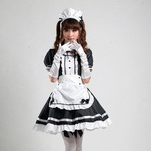 Fancy Dress Maid Cosplay Costume Party Anime Black for K-ON Japanese Akihabara Red