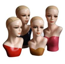 58cm 1pc female model dummy bracket fake Hat Scarf head mannequin simulation wear wig props display Insertable needle A546