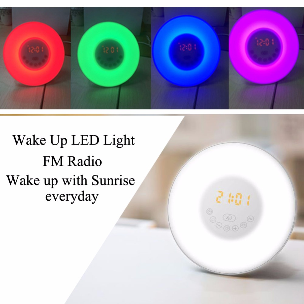 New 3 Plug Colorful Wake Up Digital LED Light Alarm Clock With Sunrise Simulation FM Radio Lamp For Home Bedroom Decoration wake up night light alarm clock sunrise simulation dusk fading night light with nature sounds fm radio touch control usb charger