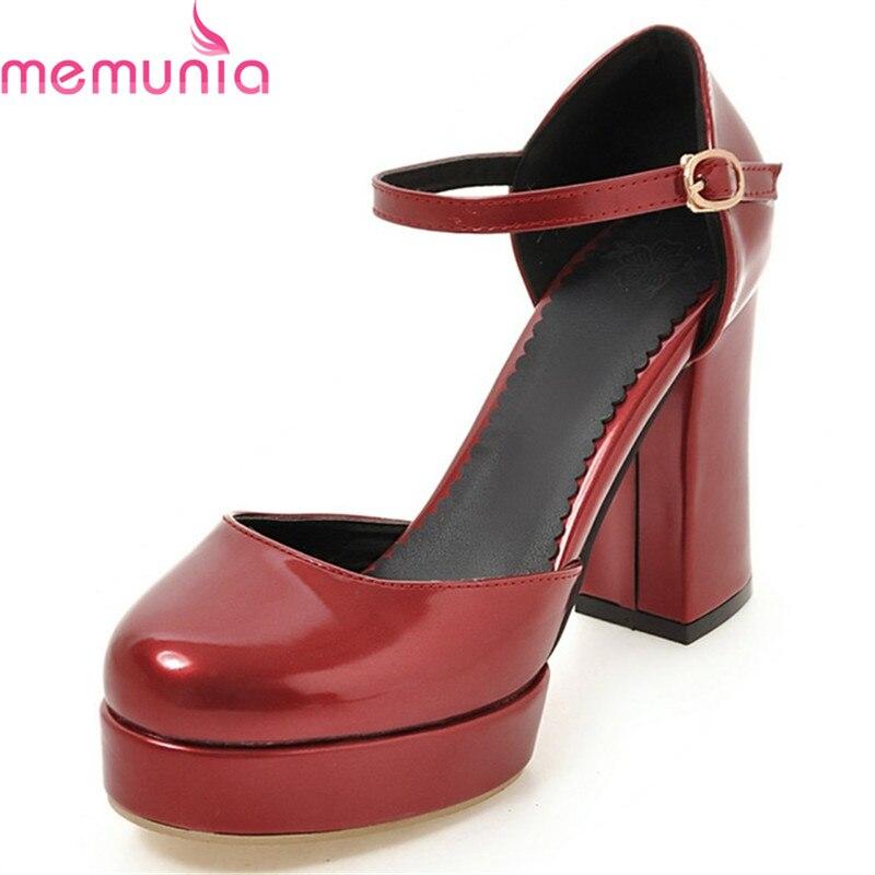 MEMUNIA 2020 sexy thick high heels pumps women shoes fashion round toe platform buckle elegant solid