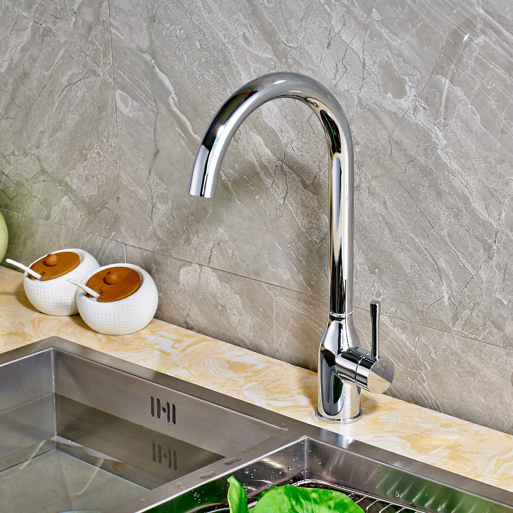 Chrome Finish Brass Kitchen Faucet Single Handle Hole Vessel Sink Mixer Tap New Arrival