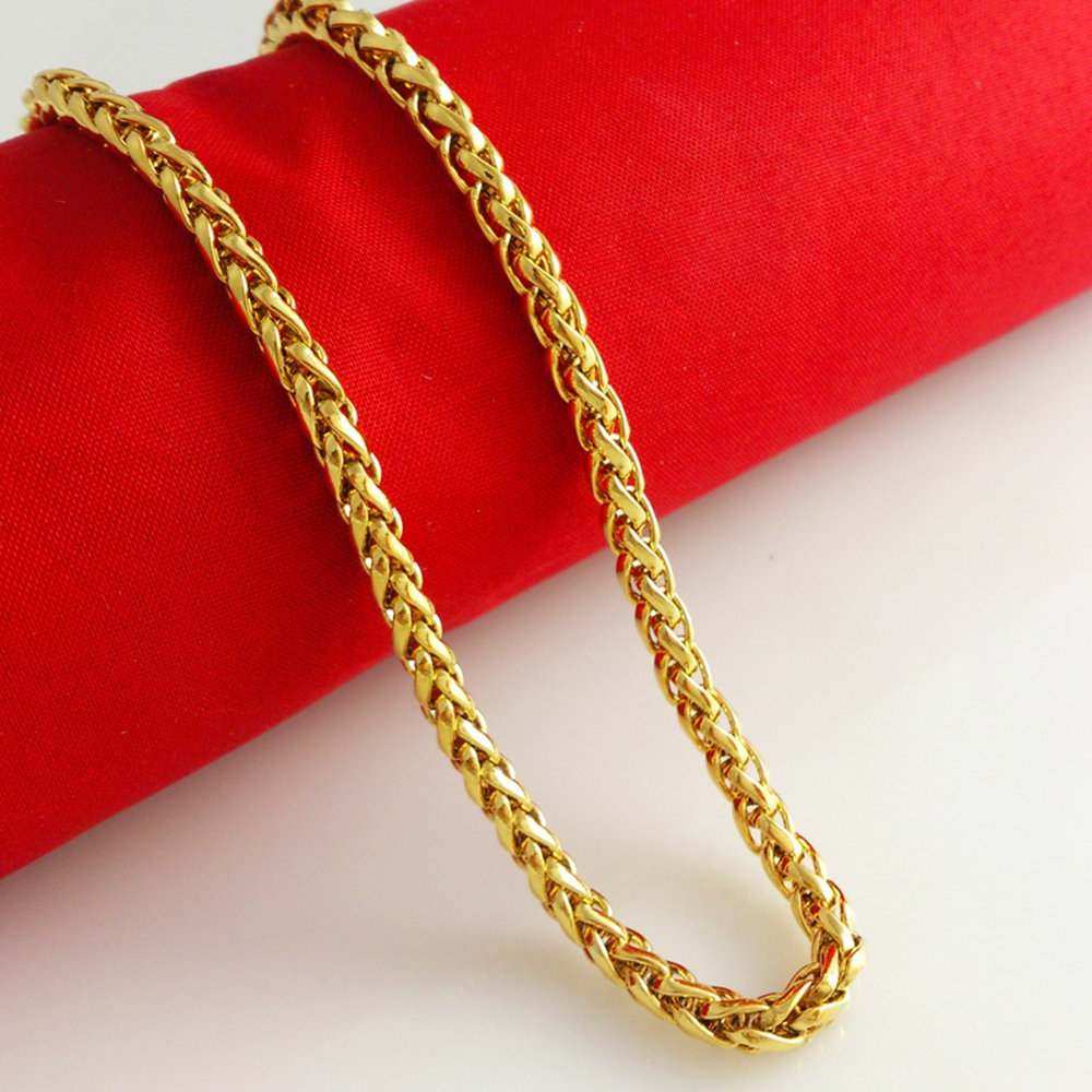 mens gold chain inch byzantine necklace chains yellow