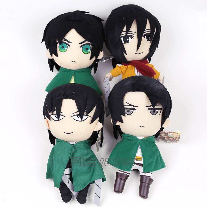"Anime Attack on Titan Eren Jaeger Levi Mikasa Ackerman Plush Toy Soft Stuffed Doll Gift 12"" 30cm"