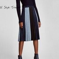 Haute Bloc De Couleur De Mode En Daim Jupe Plissée Femmes Occasionnel Femelle Office Lady Work Wear Automne Style Noir Long Maxi Midi jupes