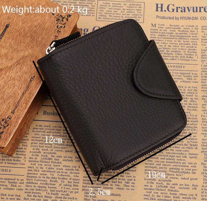 US $15 27 20% OFF|Men's genuine leather coin wallet Real leather snap short  wallet Snap coin pocket Zip around snap pocket trifold pocket purse-in
