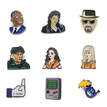 V137 Game Machine and 2 Broke Girls Metal Enamel Pins and Brooches Fashion Lapel Pin Backpack Bags Badge Collection Gifts v134 home alone metal enamel pins and brooches fashion lapel pin backpack bags badge collection gifts