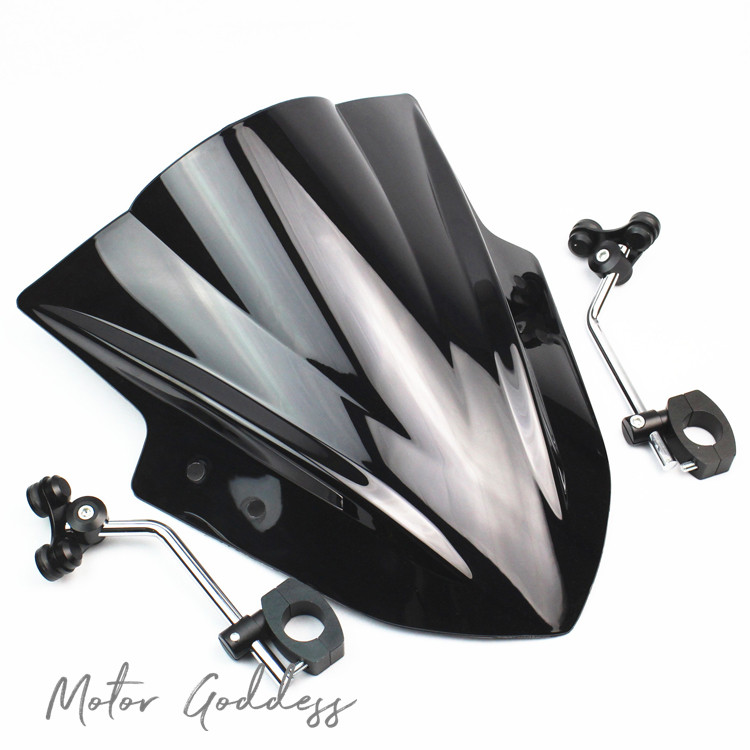 Motorcycle Windshield Windscreen With adjustable bracket Wind Screen For Kawasaki ZRX1200 KLE650 VERSYS1000 Z800 Z1000 Z750 Z650