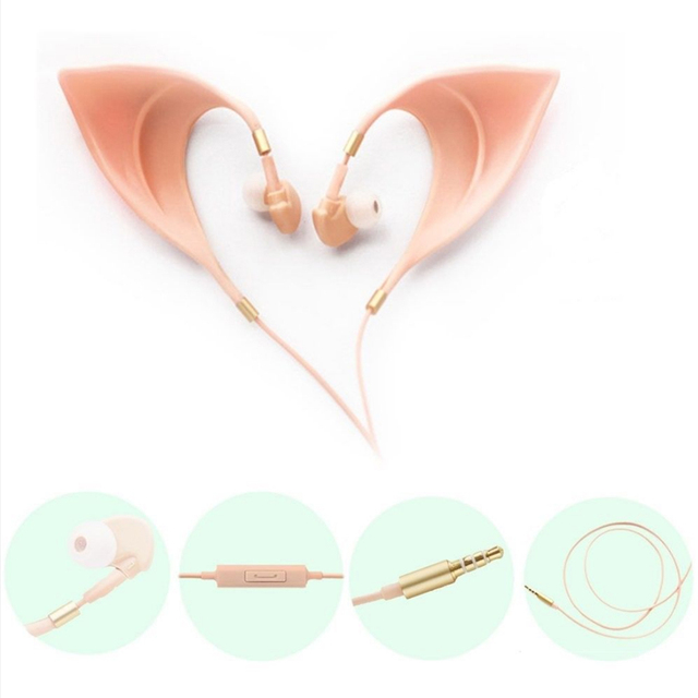 Elf Earbuds Earphones In Ear Headphones Hands Free Headset With Mic For Huawei Xiaomi Samsung Elf Ears For kids Holiday Gifts
