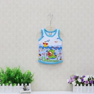 Image 5 - Camisetas sin mangas para niños y niñas, ropa fina de algodón 2019, 10 unidades/lote, camisetas con cuello redondo, 100%