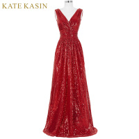 Kate Kasin Long Bridesmaid Dresses Red Silver Pink Black Gold Sequins Wedding Party Dresses For Bridesmaids