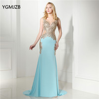 Backless Mermaid Evening Dresses Long 2018 With Embroidery Crystals Beaded Sexy Floor Length Formal Prom Evening