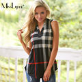 XXXL 4XL 5XL Plus Size Women Tops 2017 Spring European Style Fashion Plaid Sexy V-neck Sleeveless Slim Casual Long T-shirt Femme