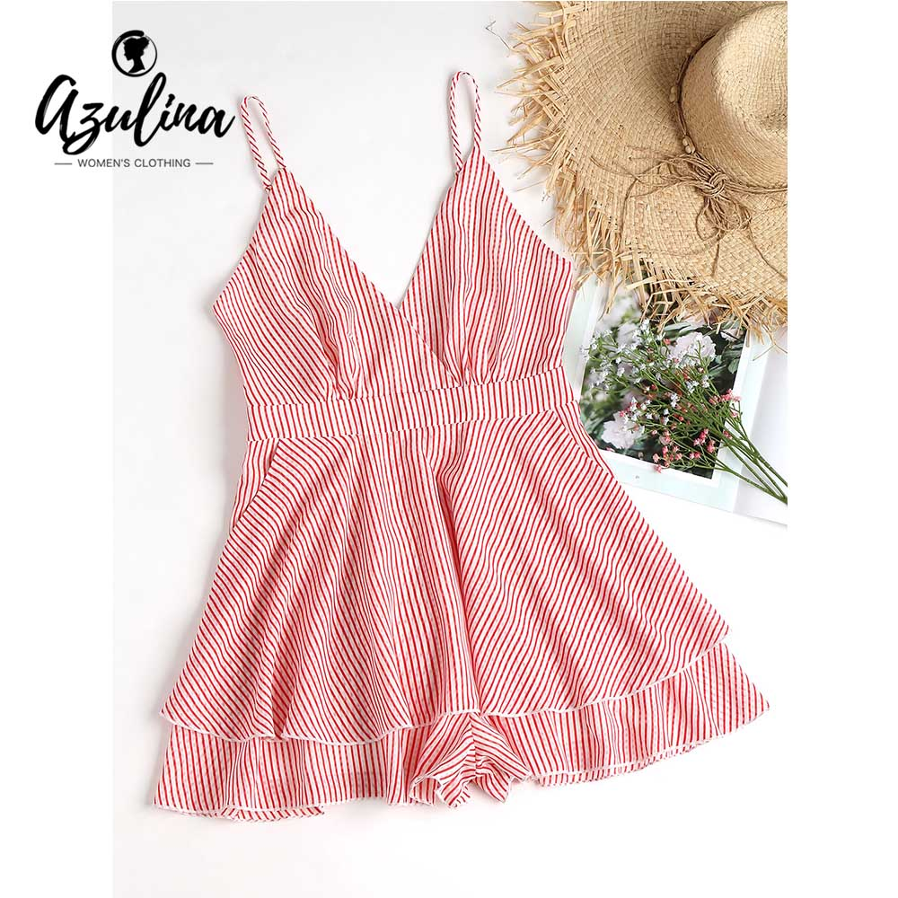 AZULINA Open Back Striped Slip Romper Women Playsuits Summer Overlay Pockets High Waist  ...