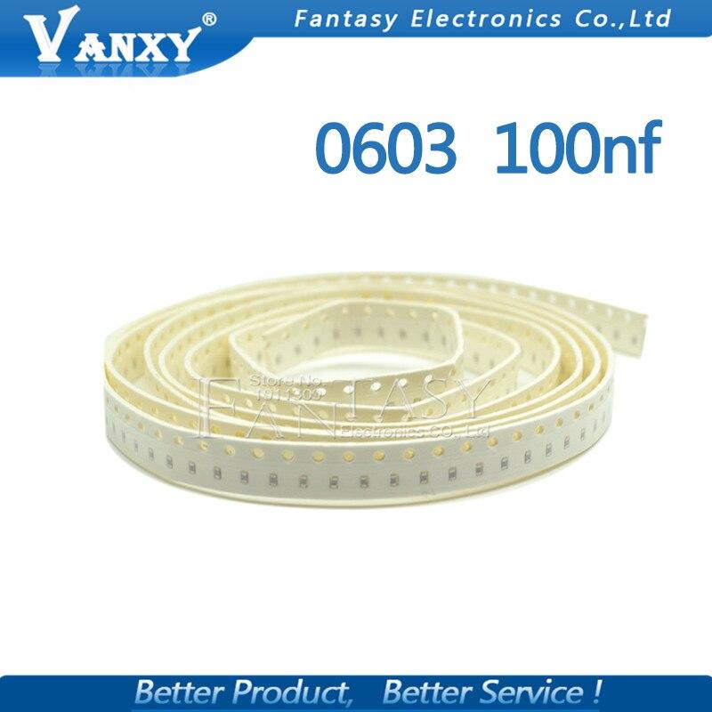 100pcs 100NF X7R Error 10% 50V 0603 104 SMD Thick Film Chip Multilayer Ceramic Capacitor