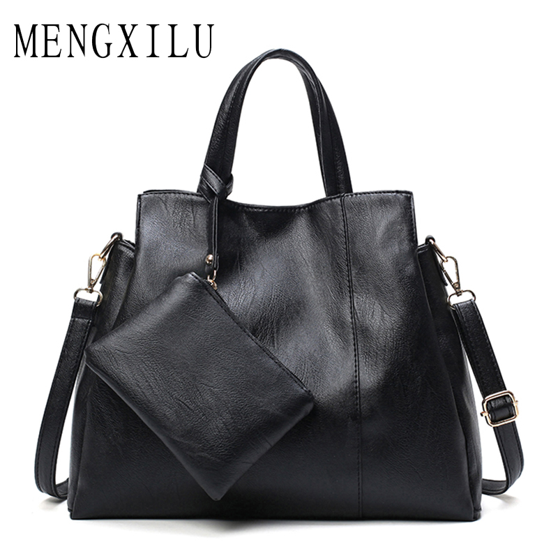 все цены на MENGXILU Fashion Tassel Leather Women Handbag Lady Hobos Bag Patchwork Shoulder Bags Women Large Capacity Sac A Main 2018 New онлайн