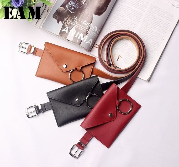 [EAM] 2019 New Spring Personality Black PU Leather Red Metal Ring Mini-bag Long   Belt   Women Fashion Tide All-match JE44301