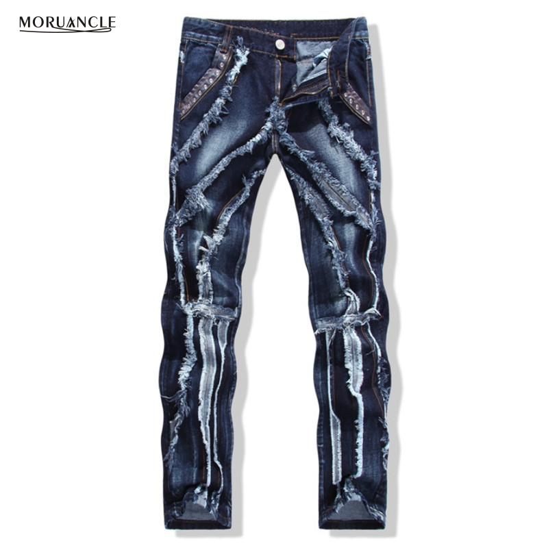 Fashion Brand Designer Mens Ripped Jeans Pants Streetwear Jean Joggers For Man Slim Fit Blue Distressed Denim Trousers E0001 brand designer mens embroidered jeans pants fashion painted denim joggers for male slim fit straight jean trousers ink splash