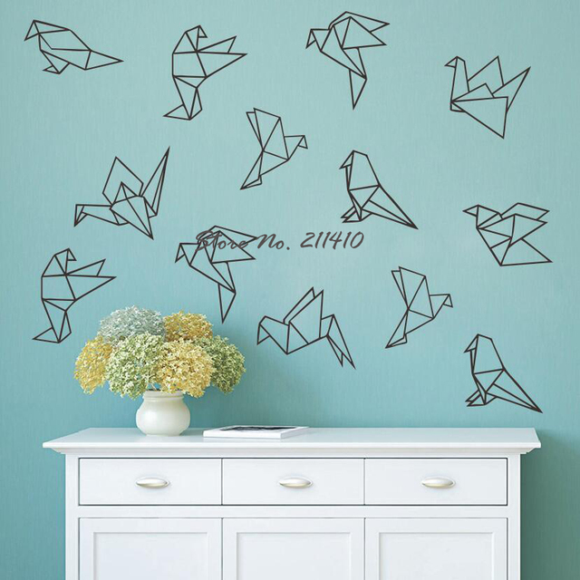 geometric origami wall decals 45 vinyl bird decals, wall stickers