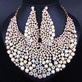 Высочайшее Качество kc Позолоченные Полный Кристалл Rhinestone Себе Ожерелье Серьги для Женщин Свадьба Ювелирные Наборы
