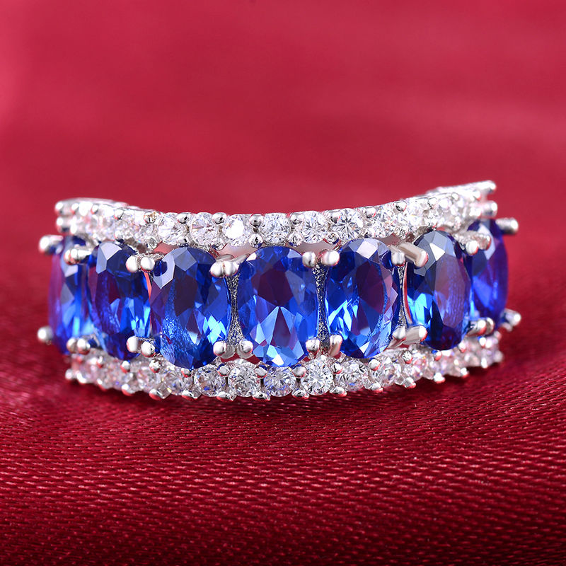 10ct 925 Silver Oval Full Sapphire Simulated Diamond White Gold GF Women Engagement Bridal Ring Women Wedding Band Ring