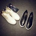 Primavera verão genuína Sapatos de couro Homens Sapatos Baixos Pedal Respirável Massagem homens Deslizamento em Calçados Casuais dos homens Brancos Pretos sapatos