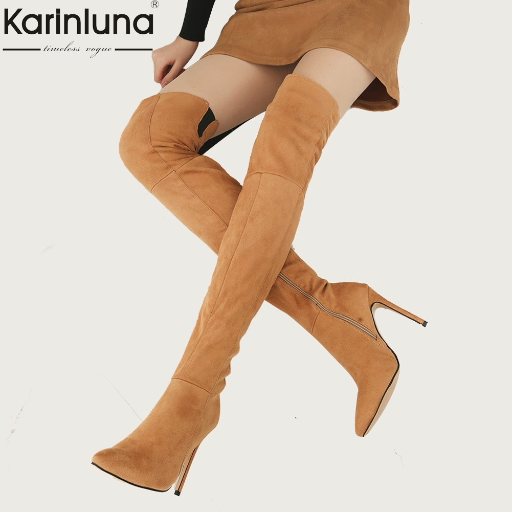 Karinluna 2018 plus size 32-46 short plush winter over the knee boots women Shoes Woman high Heels party women bootsKarinluna 2018 plus size 32-46 short plush winter over the knee boots women Shoes Woman high Heels party women boots