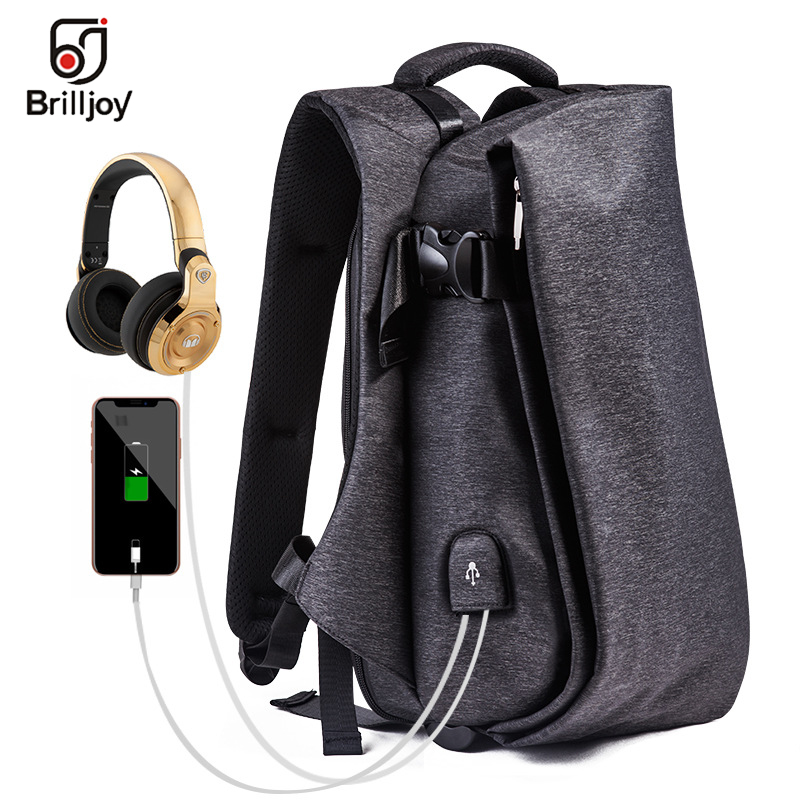 Brilljoy 15.6 Laptop Backpack For Men Water Repellent Functional Rucksack with USB Charging Port Travel Student Backpacks MaleBrilljoy 15.6 Laptop Backpack For Men Water Repellent Functional Rucksack with USB Charging Port Travel Student Backpacks Male