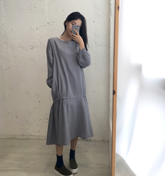 Women dress Full Sleeve Less Wind Reduction Age Dresses Gray 0327