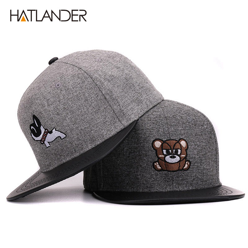 Hatlander women 6 panel grey hip hop hats with doggy raccoon flat brim men baseball caps casual snapback caps for boys girls rosicil skullies beanies winter hats for women letter beanies women hip hot caps skullies girls gorros women beanies female