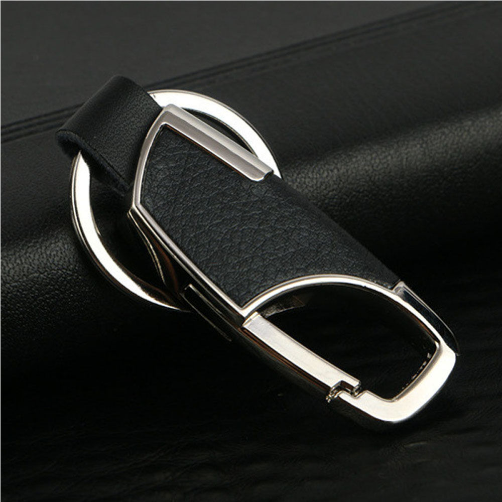 1 PC Fashion Jewelry Simple Leather Metal Keychain For Men Women Alloy Buckle Men Black Key Chain Key Ring Car Accessories Gifts