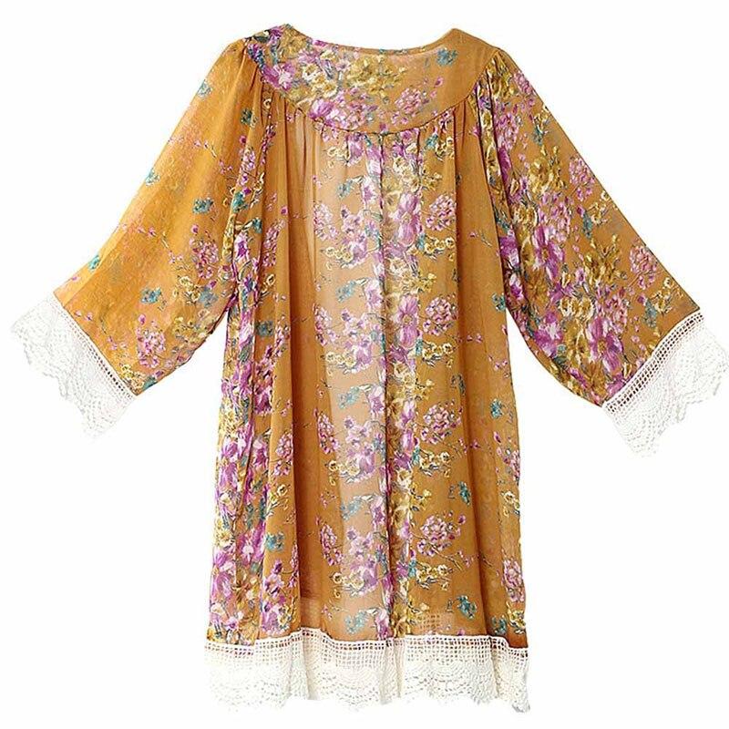 Tonichella Woman Vintage Floral Chiffon Blouse Beachwear Flower Design Lace Decoration Female Comfortable Outerwear SCL077
