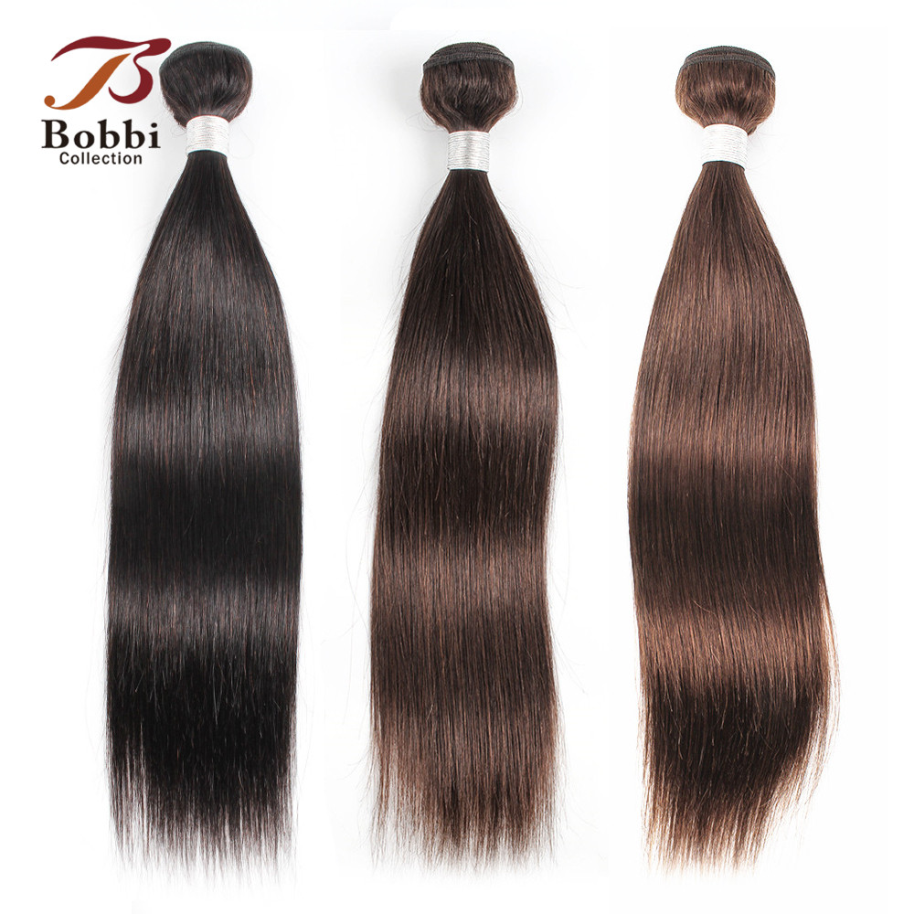 Bobbi Collection 1 Bundle Color 2 Dark Brown Indian Hair Weave Bundles Color 4 Straight Human Hair Weft Remy Hair Extension(China)