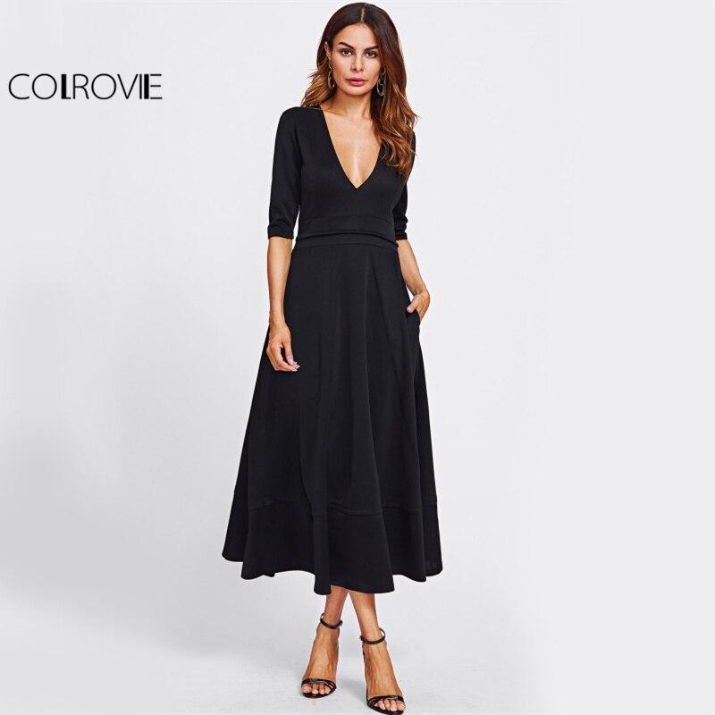 COLROVIE Black OL Sexy A Line Dress 2017 Deep V Neck Women Elegant Slim Maxi Dresses