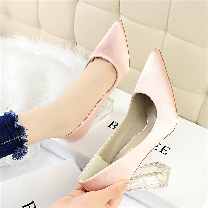 19 Plus Size 43 Women Block 10cm High Heels Lady Scarpins Green Satin Pumps Female Wedding Yellow Blue Silk Transparent Shoes 33
