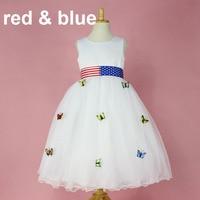 6 видов цветов Американский флаг одежда малыша Необычные Бабочки модели довольно партии Детская одежда для девочек платья для особого случ...