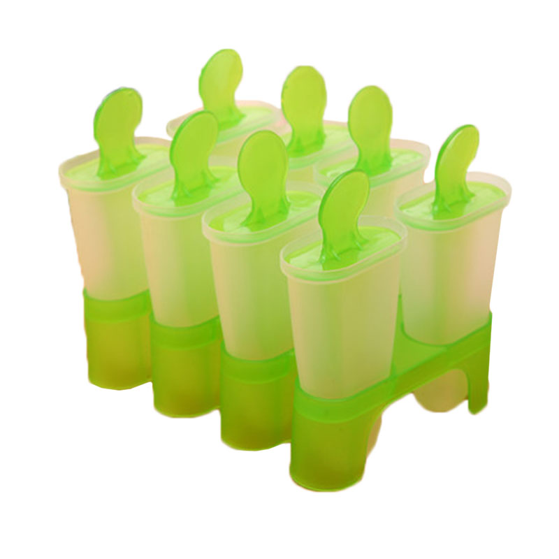 8 Cell Frozen Ice Cream Mold Popsicle Maker Mould Tray Pan Kitchen DIY Green Hot