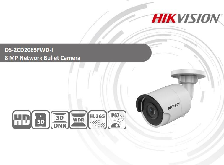 Free Shipping HIKVISION DS-2CD2085FWD-I H.265 8MP 4K IR Network Bullet Camera CCTV Water ...