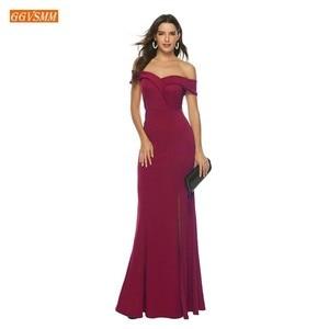 Image 5 - אופנה בורגונדי בת ים שושבינה שמלות ארוך 2020 זול מסיבת חתונת שמלות אלסטי סאטן לקיר אורך תחרות נשים שמלה