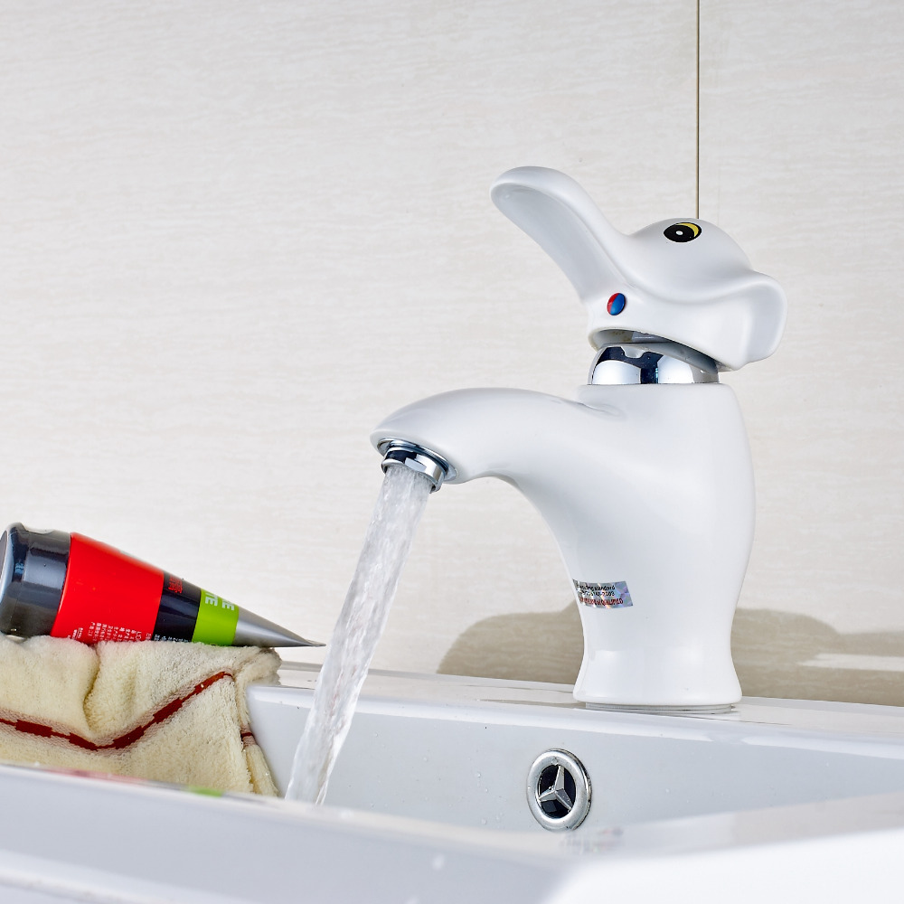 Newly Style Elephant Faucet Polish Chrome White Painting Sink Faucet Mixer Tap Single Handle Hole blanco alta 512319 tap mixing valve oriental style chrome by blanco