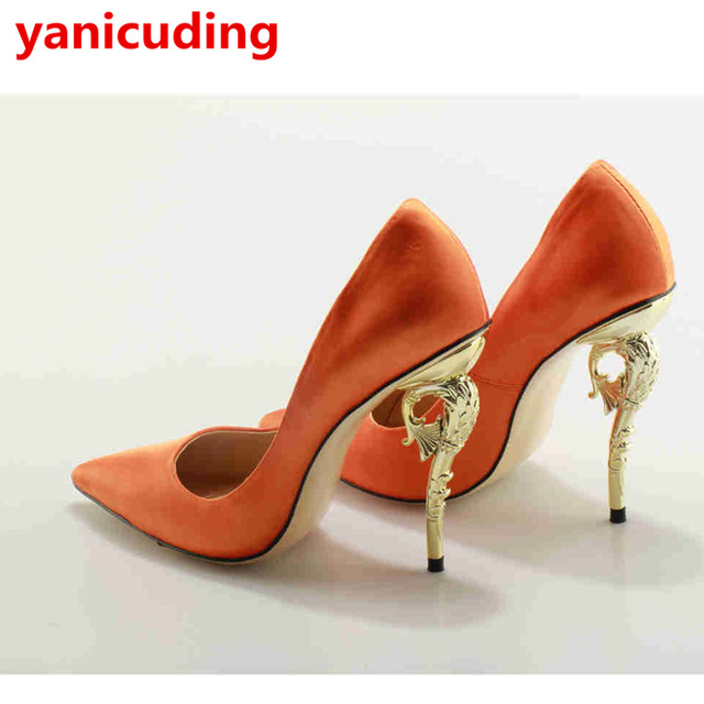 yanicuding Metal Embellished Women Pump Wedding Party Shoes High Heel Pointed  Toe Shoe Sexy Lady Pumps Stiletto Gold Sliver Heel 77f4ca2056cc