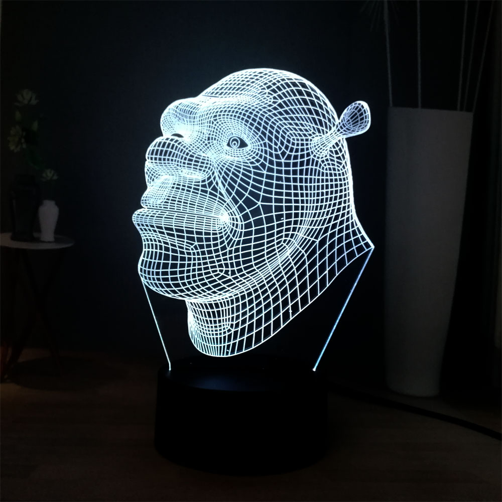 New Cartoon 7 Color Change LED Night Light 3D Cool Shrek Head Home Holiday Decor Light Table Lamp Kids Birthday Christmas Gift